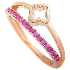 LB Exclusive 14 Karat Rose Gold and Ruby Ring