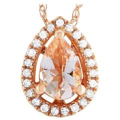 LB Exclusive 14 Karat Rose Gold Diamond and Morganite Pendant Necklace
