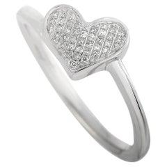 LB Exclusive 14 Karat White Gold 0.09 Carat Diamond Heart Ring