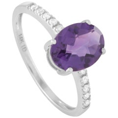 LB Exclusive 14 Karat White Gold 0.10 Carat Diamond and Oval Amethyst Ring