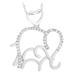 LB Exclusive 14 Karat White Gold 0.10 Carat Diamond Elephant Pendant Necklace