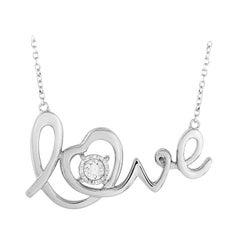 LB Exclusive 14 Karat White Gold 0.10 Carat Diamond Pendant Necklace