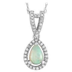 LB Exclusive 14 Karat White Gold 0.11 Carat Diamond and Opal Pendant Necklace