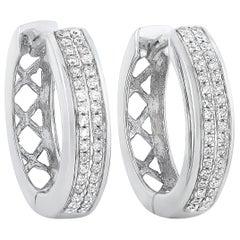 LB Exclusive 14 Karat White Gold 0.14 Carat Diamond Hoop Earrings