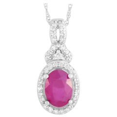 LB Exclusive 14 Karat White Gold 0.15 Carat Diamond and Ruby Pendant Necklace