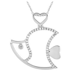LB Exclusive 14 Karat White Gold 0.15 Carat Diamond Fish Pendant Necklace