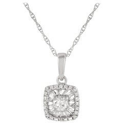 LB Exclusive 14 Karat White Gold 0.19 Carat Diamond Pendant Necklace