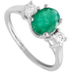 LB Exclusive 14 Karat White Gold 0.20 Carat Diamond and Emerald Ring