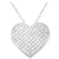LB Exclusive 14 Karat White Gold 0.20 Carat Diamond Heart Necklace
