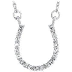 LB Exclusive 14 Karat White Gold 0.20 Carat Diamond Horseshoe Pendant Necklace