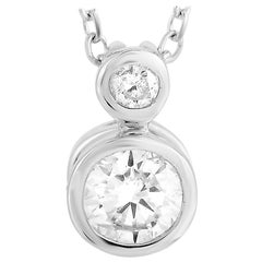 LB Exclusive 14 Karat White Gold 0.20 Carat Diamond Pendant Necklace
