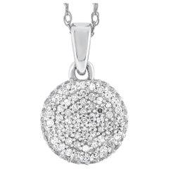 LB Exclusive 14 Karat White Gold 0.24 Carat Diamond Pendant Necklace