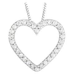 LB Exclusive 14 Karat White Gold 0.25 Carat Diamond Heart Necklace