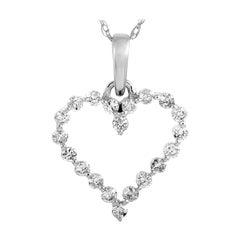 LB Exclusive 14 Karat White Gold 0.25 Carat Diamond Heart Pendant Necklace