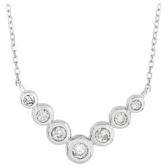 LB Exclusive 14 Karat White Gold 0.25 Carat Diamond Pendant Necklace