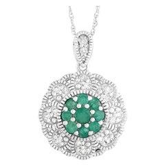 LB Exclusive 14 Karat White Gold 0.27 Carat Diamond and Emerald Necklace