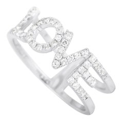 LB Exclusive 14 Karat White Gold 0.35 Carat Diamond Love Ring