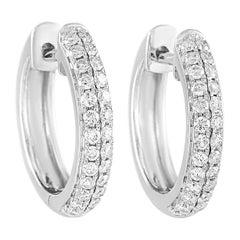 LB Exclusive 14 Karat White Gold 0.42 Carat Diamond Hoop Earrings