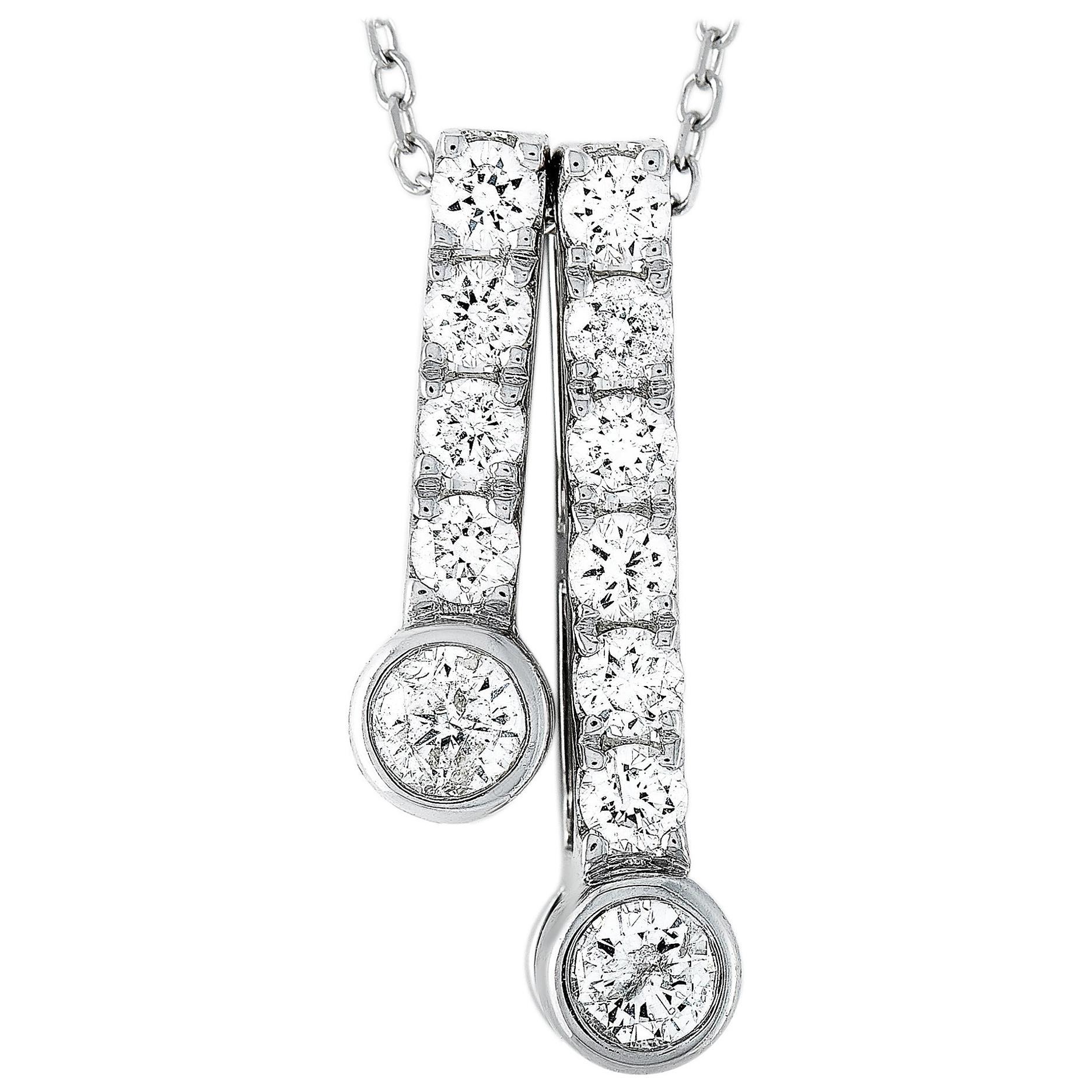 LB Exclusive 14 Karat White Gold 0.53 Carat Diamond Pendant Necklace