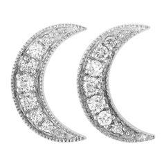 LB Exclusive 14 Karat White Gold 0.55 Carat Diamond Crescent Moon Earrings