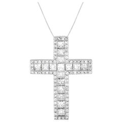 LB Exclusive 14 Karat White Gold 2.23 Carat Diamond Cross Necklace