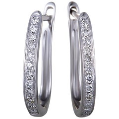 LB Exclusive 14 Karat White Gold .25 Carat VS1 G Color Diamond Small Oval Hoop