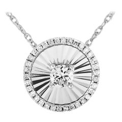 LB Exclusive 14 Karat White Gold and Diamond Circle Pendant Necklace