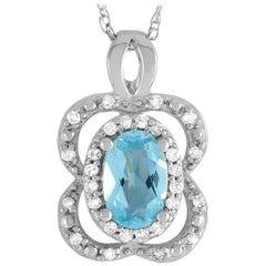 LB Exclusive 14 Karat White Gold Diamond and Aquamarine Pendant Necklace