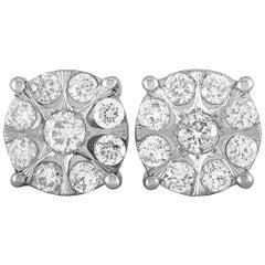 LB Exclusive 14 Karat White Gold Diamond Pave Stud Earrings