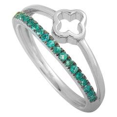 LB Exclusive 14 Karat White Gold Emerald Clover Ring