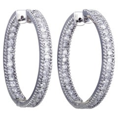 LB Exclusive 14 Karat White Gold Inside Out, 2 Carat Diamond Pave Hoop Earrings