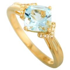LB Exclusive 14 Karat Yellow Gold 0.04 Carat Diamond and Aquamarine Ring