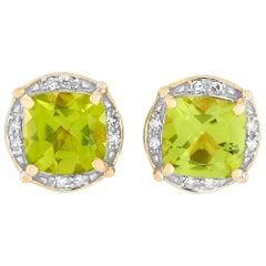 LB Exclusive 14 Karat Yellow Gold 0.05 Carat Diamond and Peridot Earrings