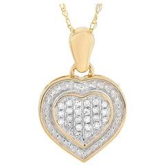 LB Exclusive 14 Karat Yellow Gold 0.09 Carat Diamond Pendant Necklace