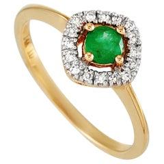 LB Exclusive 14 Karat Yellow Gold 0.10 Carat Diamond and Emerald Ring
