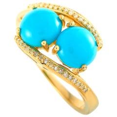 LB Exclusive 14 Karat Yellow Gold 0.10 Carat Diamond and Turquoise Ring