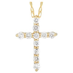 LB Exclusive 14 Karat Yellow Gold 0.10 Carat Diamond Cross Pendant Necklace