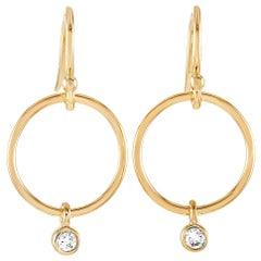 LB Exclusive 14 Karat Yellow Gold 0.10 Carat Diamond Dangle Hoop Earrings