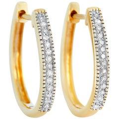 LB Exclusive 14 Karat Yellow Gold 0.10 Carat Diamond Earrings