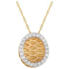 LB Exclusive 14 Karat Yellow Gold 0.10 Carat Diamond Necklace