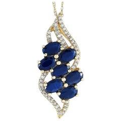 LB Exclusive 14 Karat Yellow Gold 0.13 Carat Diamond and Sapphire Necklace