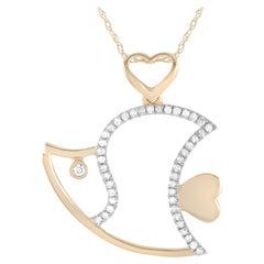 LB Exclusive 14 Karat Yellow Gold 0.15 Carat Diamond Fish Pendant Necklace
