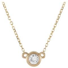 LB Exclusive 14 Karat Yellow Gold 0.16 Carat Diamond Pendant Necklace
