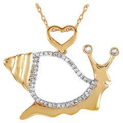 LB Exclusive 14 Karat Yellow Gold 0.16 Carat Diamond Snail Pendant Necklace