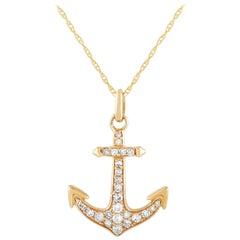 LB Exclusive 14 Karat Yellow Gold 0.17 Carat Diamond Anchor Pendant Necklace