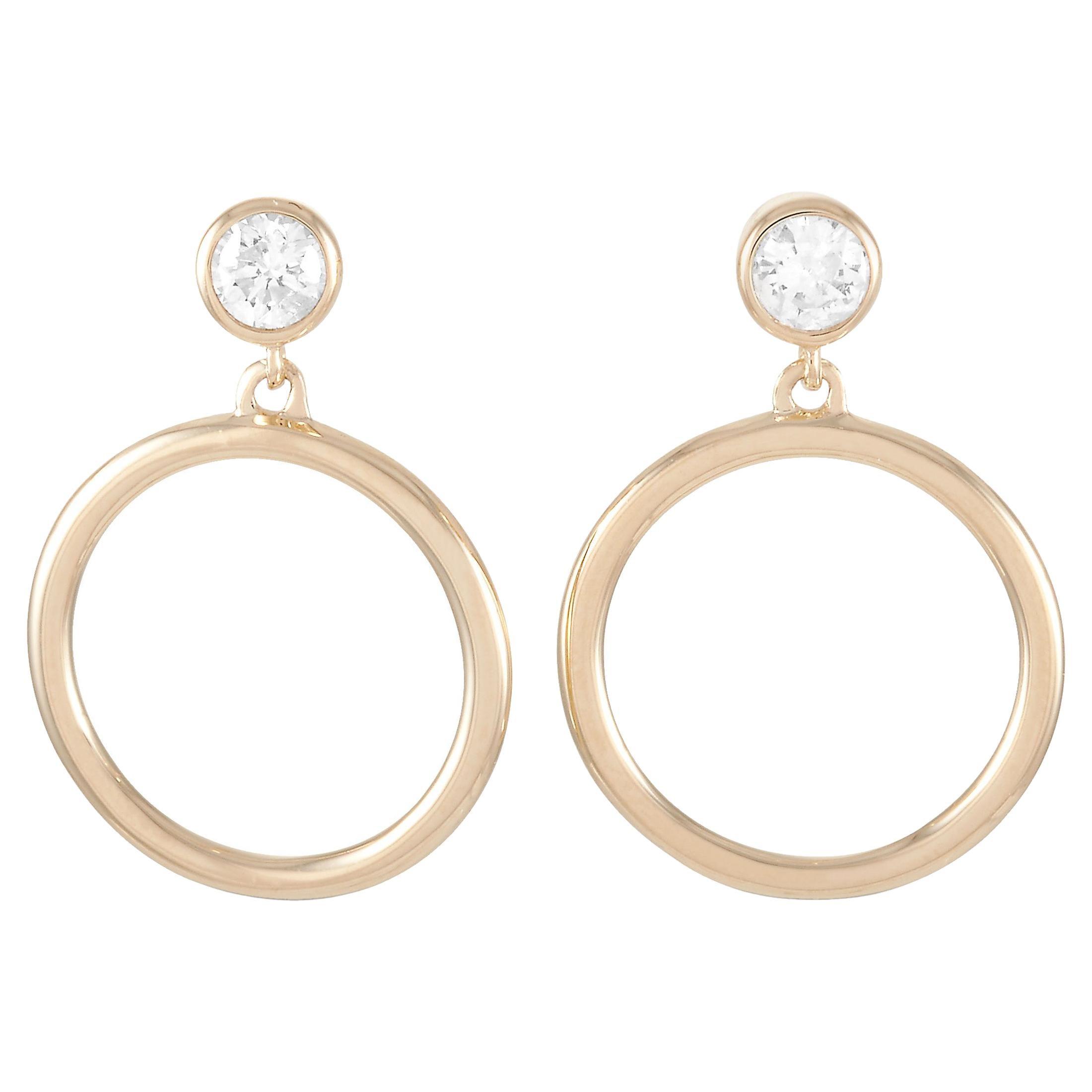 LB Exclusive 14 Karat Yellow Gold 0.18 Carat Diamond Earrings