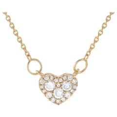 LB Exclusive 14 Karat Yellow Gold 0.18 Carat Diamond Pendant Necklace