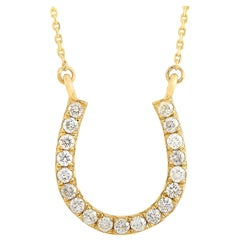 LB Exclusive 14 Karat Yellow Gold 0.20 Carat Diamond Horseshoe Pendant Necklace