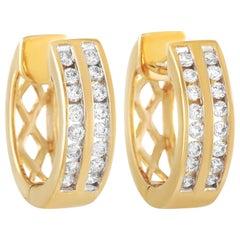 LB Exclusive 14 Karat Yellow Gold 0.25 Carat Diamond Hoop Earrings