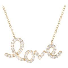 LB Exclusive 14 Karat Yellow Gold 0.26 Carat Diamond Love Pendant Necklace